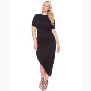 Eloquii Draped Body Con Midi Dress